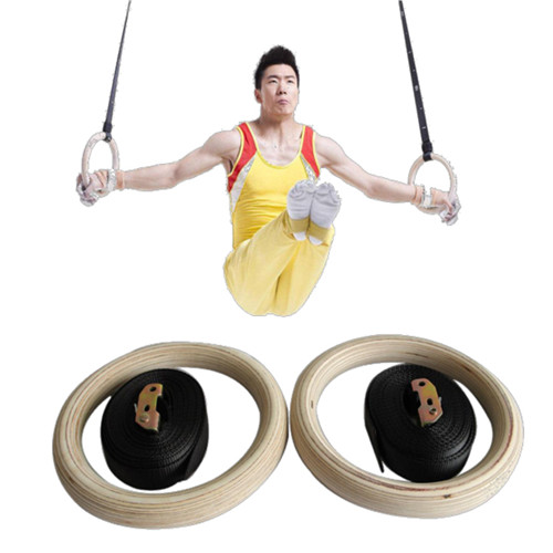 Fitness Strength Training Gymnastic Wooden Gym Rings